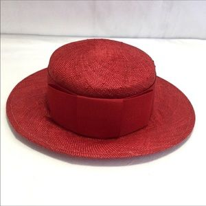 Vintage Lord & Taylor Red Straw Boater Hat w/ Box
